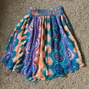 HD in Paris Silk Pull On Boho Midi Skirt Small